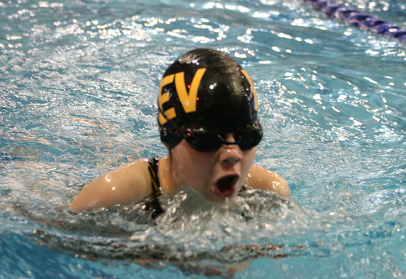 Anna Pfeiffer swims in the breaststroke event at the swim meet hosted by the Aquaducks at the Aquatic Centre last weekend. Photo courtesy of Connie Pfeiffer