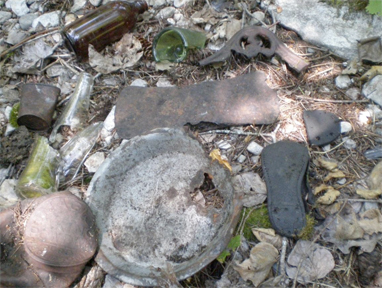 Artefacts found at the former location of the Presbyterian Church. Horizon Heritage Consulting photo courtesy of the Arrowhead Conservation Society