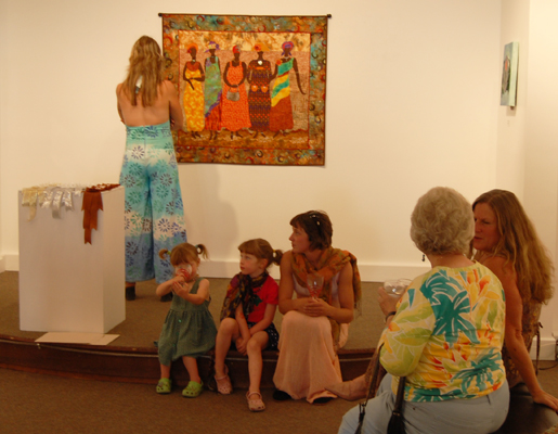 Judy Beauce and her children Eloise and Autumn take a break during the Belonging exhibition. David F. Rooney photo