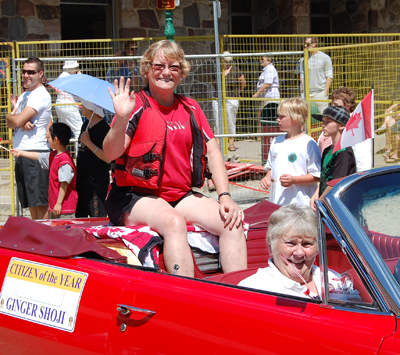Citizen of the Year Ginger Shoji waves to the crowd during the Canada Day parade. David F. Rooney photo