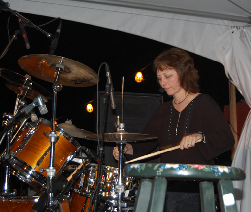 Leslie Wilkins works the drums with Blind Spot. David F. Rooney photo