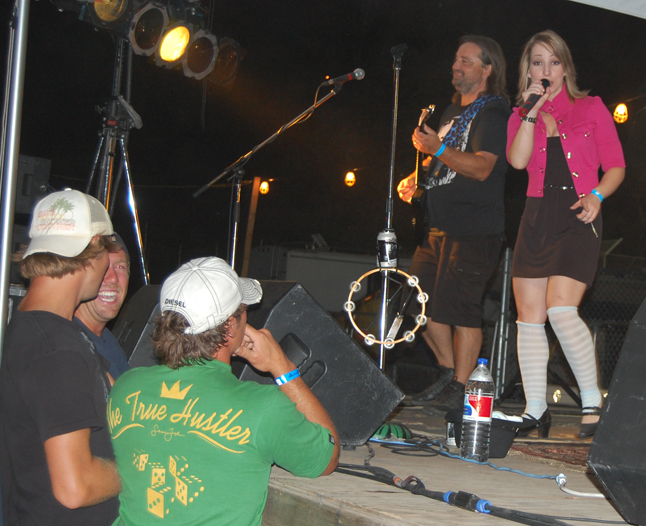 Lead vocalist Kaylee Knecht seemed to have her own gaggle of groupies at the Blind Spot concert Friday. David F. Rooney photo