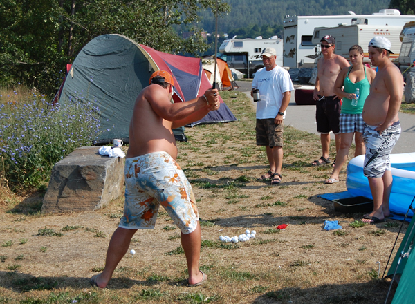 The Revelstoke Challenge may be a softball classic but that never precludes anyone from bringing a golf club and a bucket of balls. David F. Rooney photo