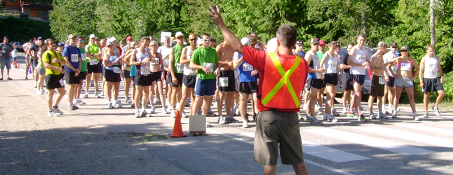 Grizzly Bear Run Organizer Jarrett Spannier tells runners to get ready for the annual 12-kilometre race, held last Sunday. Photo courtesy of Tracy Spannier