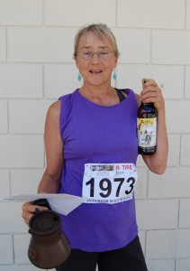 A veteran of the early days of the Grizzly Bear Run back in the 1980s, Barb Little only recently returned to competitive running. She came first in her category, Women over 60, in the four-kilometre event and she won the highly coveted helicopter ride during the post-race prize draws. David F. Rooney photo