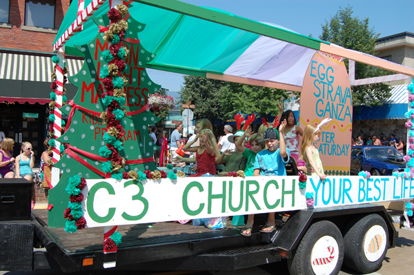 Christian City Church kids were an integral part of the church's float in the Homecoming Parade. David F. Rooney photo