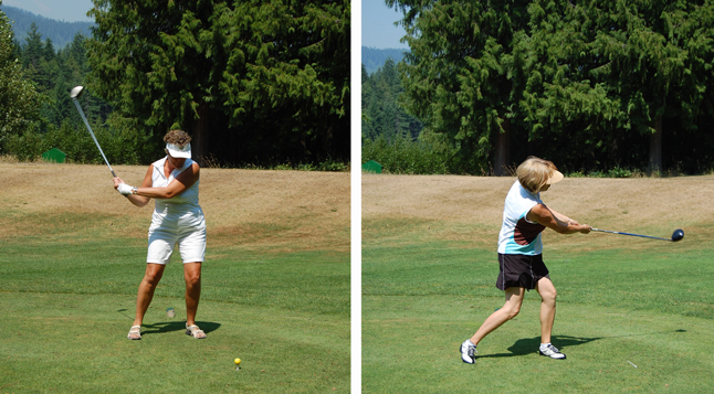 Deenie Ottenbreit (left) and Dawn Penner took turns slamming their balls down the fairway Friday in the Homecoming Tournament at the Revelstoke Golf Club on Friday. David F. Rooney photo