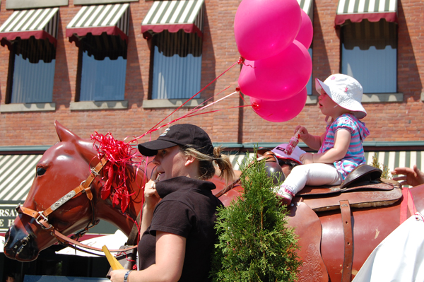 Some float participants were very young, like this younsgster perched atop a fiberglas horse for the Last Drop float. David F. Rooney photo