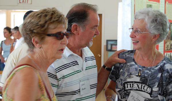 Pat (Bailey) Douglas (left), John Mako and Judy Vigue chat during the South Country Reunion at St. Peter's. David F. Rooney photo