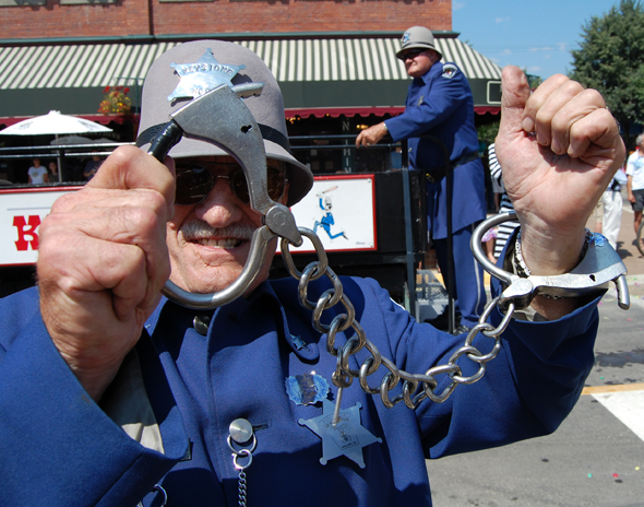 This Keystone Kop was all set to slap the cuffs on a photographer during the parade. David F. Rooney photo