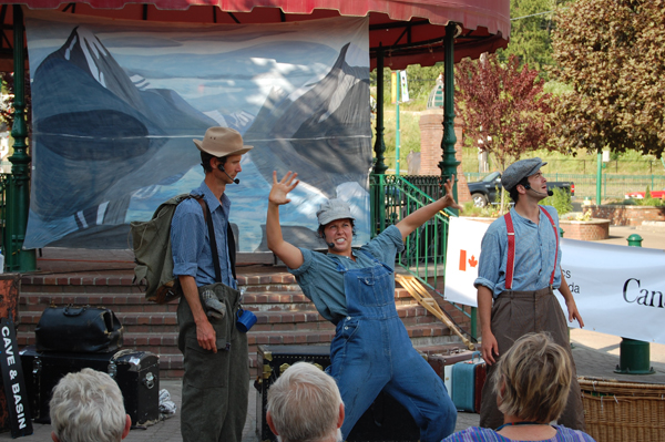 Parks Canada's hysterically funny Mountain WIT troupe — Steve Jerand, Kyla Read and Phil Nugent — had the audience in stitches at Grizzly Plaza as they performed a series of skits about water. David F. Rooney photo.