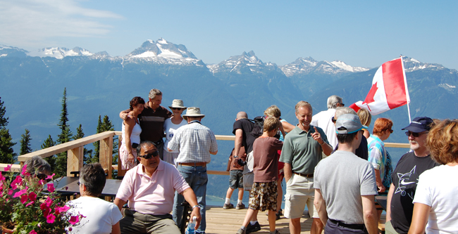 Visitors enjoyed the dynamite view, live music and refreshments at the day cabin at the end of the gondola line on Mount Mackenzie. According to RMR's Rod Kessler, the mountain will be open for two months next summer. David F. Rooney photo