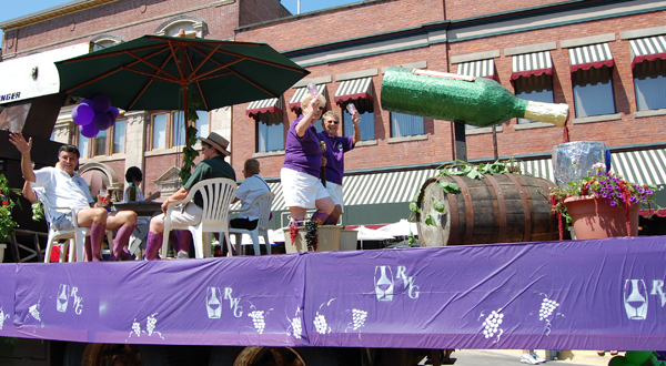 The local wine club's float was a hit with parade-goers, whether they were oenophiles or not. David F. Rooney photo