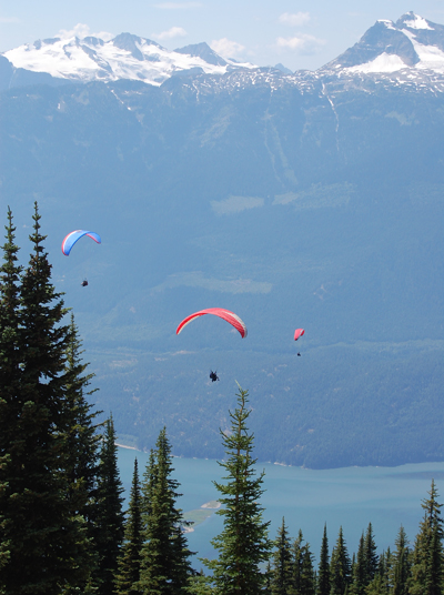 A veritable flock of paragliders ride the ocean of air above the Columbia River Valley Sunday. David F. Rooney photo