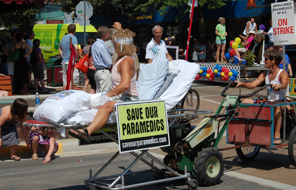 Paramedic Suzie Cameron dramatized the plight of BC's paramedics who are on strike. David F. Rooney photo