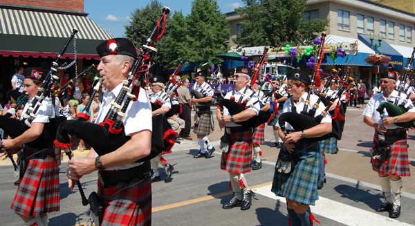 Pipers from the Revelstoke Highlanders march past during the parade. David F. Rooney photo