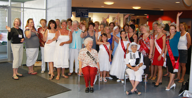 Past Miss Revelstokes, including (in front left and right) the 1944 Miss CPR Olive Lazzarotto and Clara (Morrison) Dixon, who held the same title in 1933, gathered at the Community Centre for tea and a photo. David F. Rooney photo