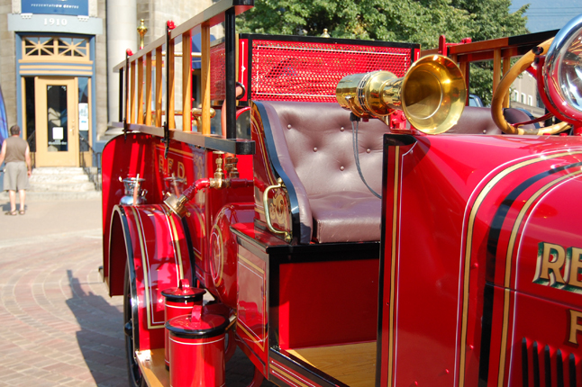 The paint and brasswork gleamed brightly on this antique fire truck which was part of the 2009 Homecoming Vintage Car Show-N-Shine on Friday. David F. Rooney photo