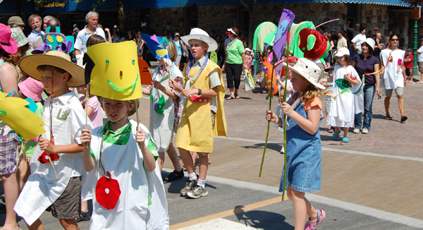 Summer Reading Club kids led the way for a giant caterpillar designed by Zoe Knuff for the Revelstoke Public Library's entry in the parade. David F. Rooney photo