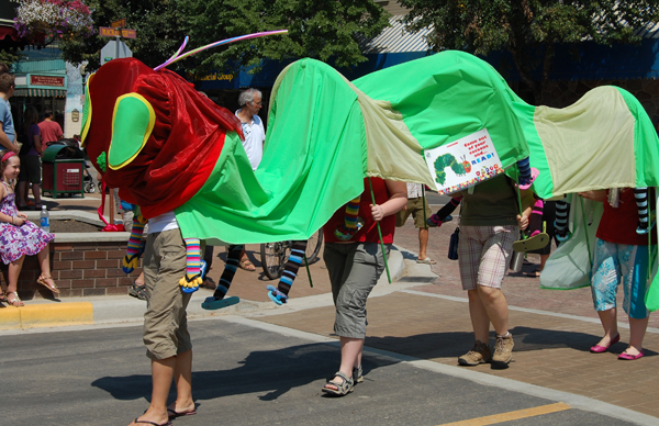 How many feet do we have here? Lots for the library's entry in the parade. David F. Rooney photo