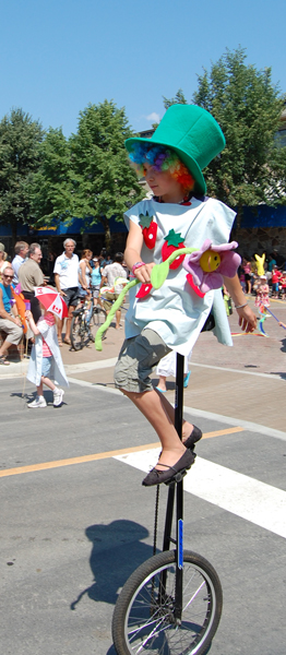 And why not a unicyclist, too? This acrobatic cyclist wheeled all the way along the parade route. David F. Rooney photo