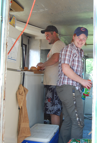 Stackers' owners Glen Cherlet and Nicole Shirray served up burgers, fries and other foods for hungry people at the Picnic in the Park. David F. Rooney photo