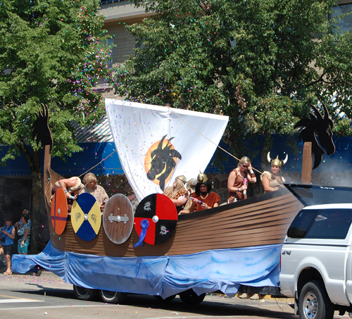 The crew of a viking ship merrily squirted water and fired off confetti guns during the parade. David F. Rooney photo