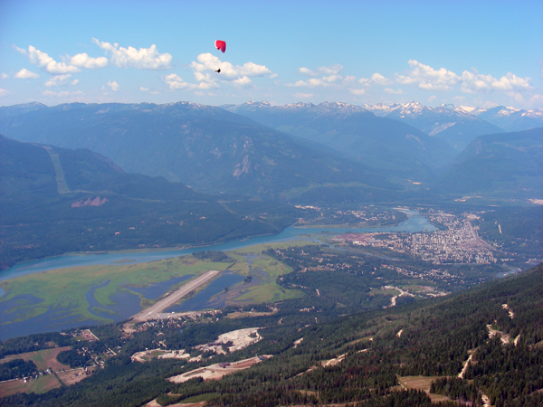 Here's a paraglider's-eye view of Revelstoke — and another paraglider — taken by Burnaby paraglider Cynthia Prescott while she over the slopes of Mount Mackenzie on Sunday. Photo courtesy of Cynthia Prescott