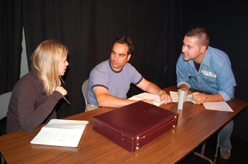 John Devitt performed convincingly as serial killer William Reach who manipulated journalists Iris and Dan Henniman, ably played by Jana Coes and Dan Sculnick, in the Revelstoke Theatre Company's performance of Lee Blessing's creepy play, Down the Road. David F. Rooney photo