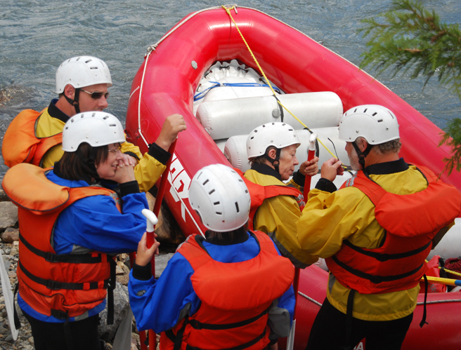 Rafters prepare for their hours-long adventure on the Illecillewaet River. Photo courtesy of Apex Rafting