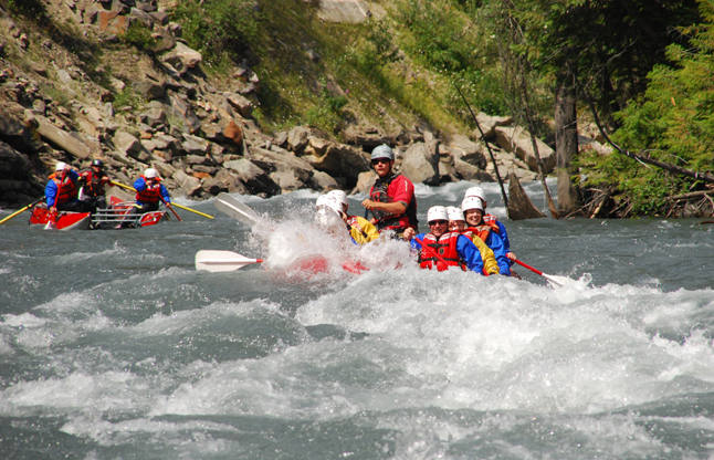 You can see the exhilaration on the rafters' faces as they enter some of the rapids on the Illecillewaet River. Photo courtesy of Apex Rafting