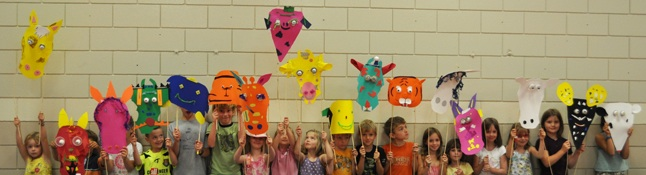 Kids in the Public Library's Summer Reading Club had a terrific time being creative when they made all kinds of masks last week. Photo courtesy of Zoe Knuff/ORL