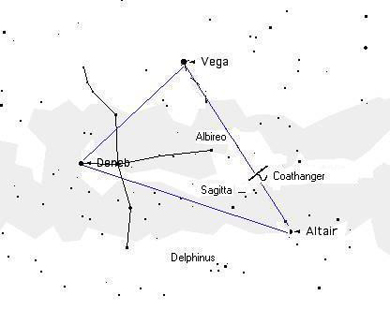 This is the Summer Triangle. You can view this constellation by looking east In the evening. Image courtesy of Larry Pawlitsky