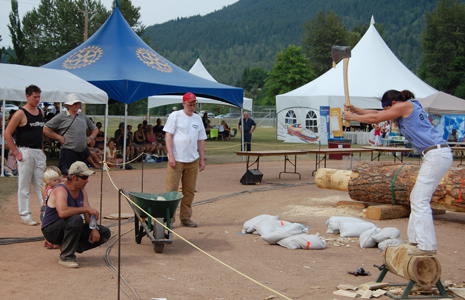 Danielle Tkach whacks wood during the Butcher Block competition at Timber Days. David F. Rooney photo