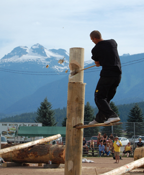 Mitch Hewitt of Scotch Creek makes the chips fly at Timber Days last weekend. David F. Rooney photo