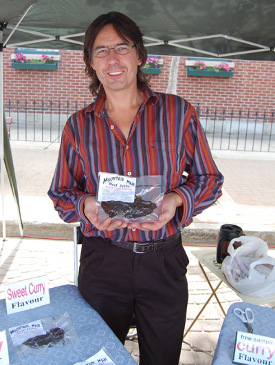 Jerky lovers will find Bob Lahue's stall particularly appealing. If you miss him at the market and can;t live without his Original-Flavoured Jerky — or the curry or teriyaki flavours, too — you can reach him at 250-837-9154. David F. Rooney photo