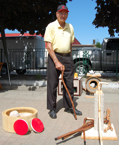 Need a hand-carved cane or walking stick or perhaps a nice little bed for your pooch? Talk to Clem Tober. He's at 250-837-4501 when he's not at the market. David F. Rooney photo