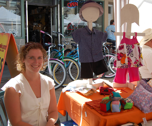 Koreen Morrone offers parents hand-made children's clothing, quilts and other beautiful cloth items. When she's not at the market you can reach her at 250-837-7422, David F. Rooney photo