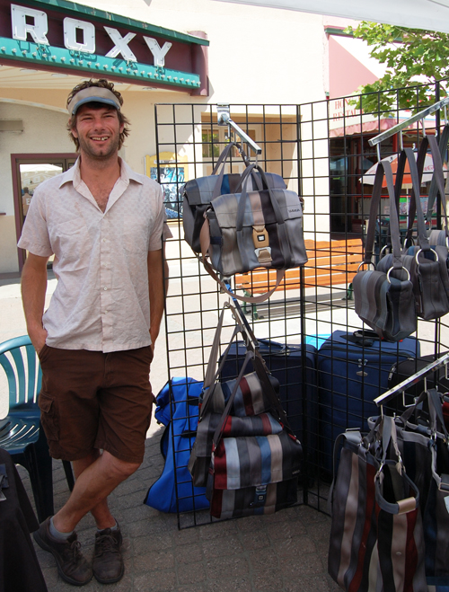 You've no doubt seen Trevor Kehler's bags around. They're the innovative ones that are made from recycled seatbelts.  If you miss him at the market you can reach him at 250-814-5701 or by e-mail at trevor@recycledseatbelts.ca. His website is www.recycledseatbelts.ca.David F. Rooney photo
