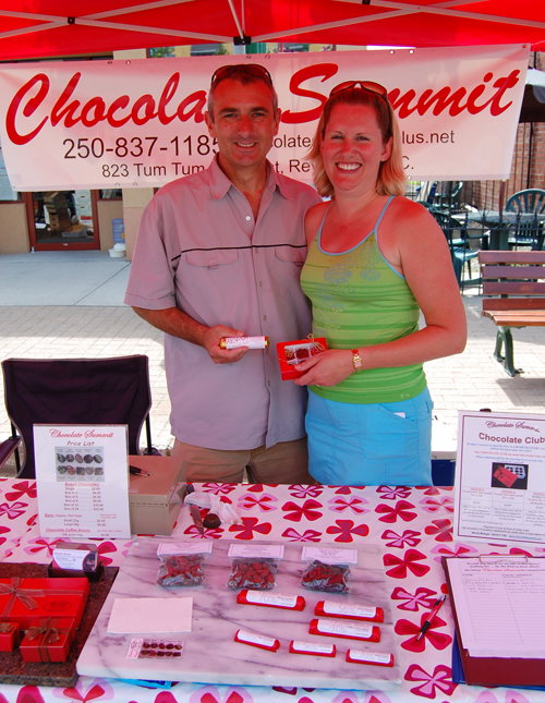 Wendy Mulligan, posing here with her husband Richard, is the woman behind the delicious treats from Chocolate Summit. She's also president of the Farmer's Market Association.If you miss her at the market you can reach her at 250-837-1185 or by e-mail at chocolatesummit@gmail.com. Wendy's website is at www.chocolatesummit.com. David F. Rooney photo