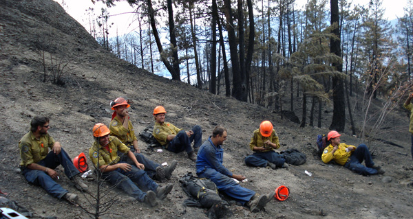 It's not pretty, but this gentle slope was a welcome place to sit down for a well-deserved lunch after a morning at the Glenrosa Fire. Photo courtesy of Ben Parsons