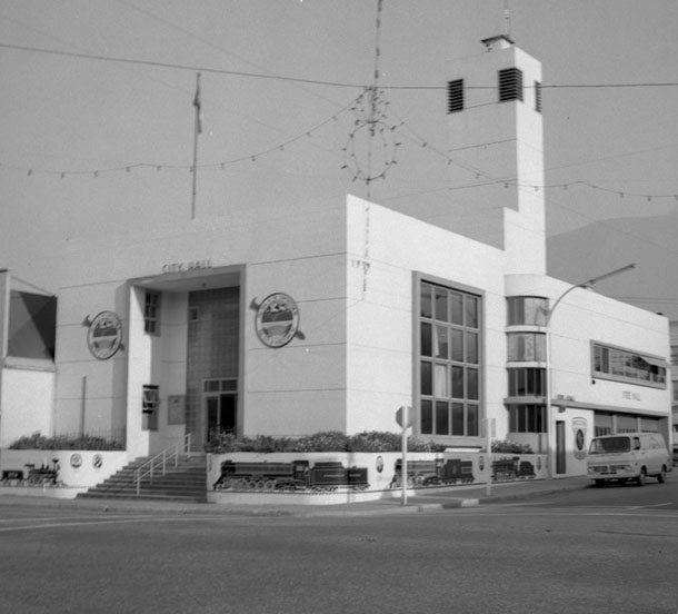 We became to so used to seeing trees right in front of City Hall that we forgot it wasn't always so.Here's what the building looked like back in 1970 when local artist David Williams painted these murals on the walls of City Hall.  Estelle Dickey photograph courtesy of the Revelstoke Museum & Archives