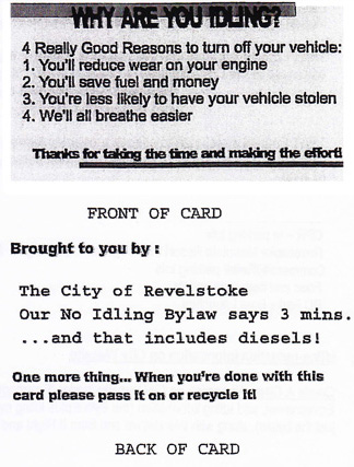 This is the text on the contentious proposed anti-idling card that Council declined to pass at Tuesday's meeting.
