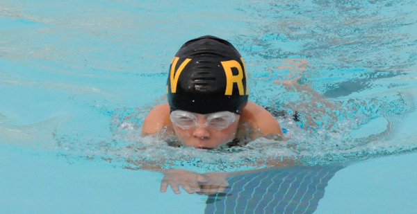 Alanna Brittin swims towards the finish line at the regional finals in Kamloops last weekend. Photo courtesy of Karyn Molder