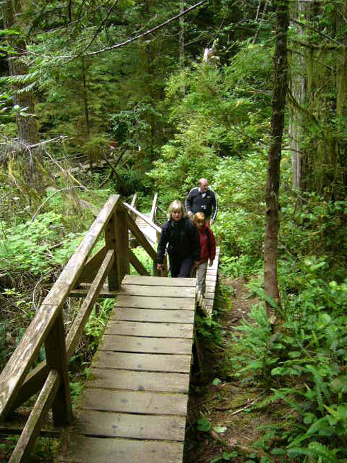 Tina Lindegaard and Nicola McGarry hiked the Rain Forest Trail to Schooner Grove. Photo courtesy of Cherie Vanoverbeke