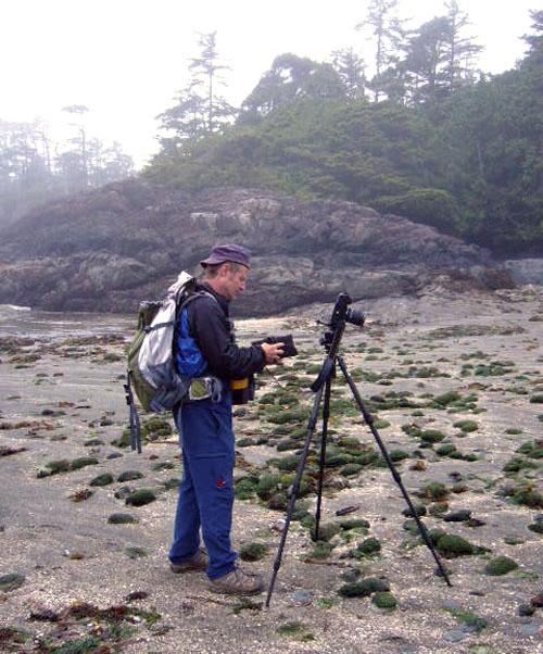Photographer Kip Wiley prepares to make some photographs on the beach. Photo courtesy of Cherie Vanoverbeke