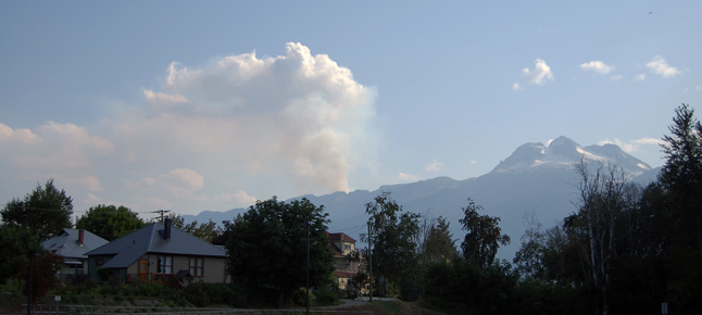 Smoke rises from a small forest fire behind Mount Begbie. Other fires have been responded to at Mulvehill Creek, Big Mouthe Creek south of Mica and, of course, the big ones our area at Galena Bay and Beaton-Incommapleux. David F. Rooney photo