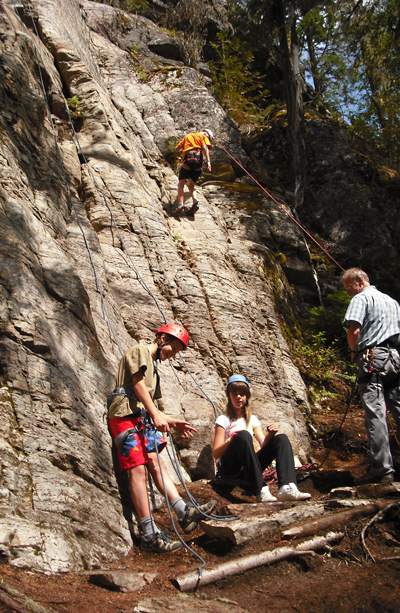 It was hard to keep Revelstoke kids' feet on the ground when Commnity Connections' pre-Teen Camp offered fantastic activities like rock climbing.  Photo courtesy of Anne Corrie