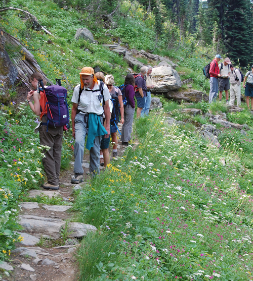 There were about 14 people in this year's Pilgrimage to Eva Lake on Sunday. The beauty of the wildflowers and the vistas as seen form the trail necessitated several stops along the way. David F. Rooney photo
