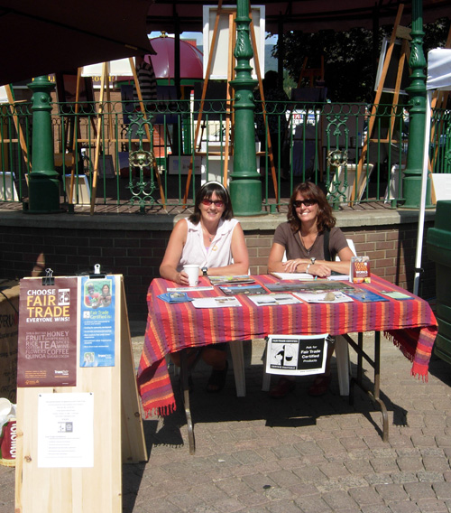 Mary Clayton (left) and Susan Knight were at the Farmers' Market on Saturday to answer the public's questions about their Fair Trade campaign. Revelstoke's Mayor and Council have approved a resolution to make the community a Fair Trade Town. Photo courtesy of Mary Clayton